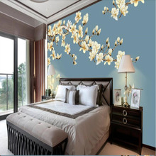 New Chinese style pen and flower mural background soft back support