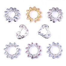 2PCS Gold Jewelry Clip On Nipple Heart Round Crystal