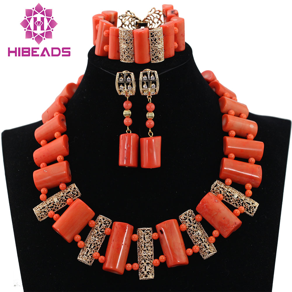 African Coral Beads Statement Necklace Set New Necklace Earrings Set for Wedding Nigeria Free Shipping CNR550