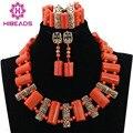 Africano Cuentas de Coral Set Collar Llamativo de Oro Plateó Los Pendientes Del Collar para La Boda Nigeria Envío Libre CNR550