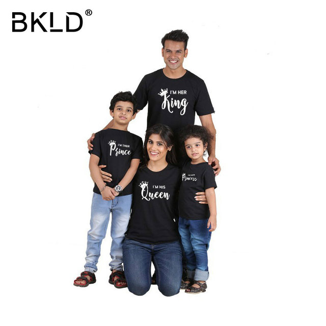 1f79d512fc BKLD His King Her Queen Their Prince And Princess Shirt Letter Print Couple  Matching Summer Lover Tee Tops Casual Family T-shirt