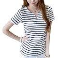 2014 новые мода широкий свободного покроя с коротким рукавом сексуальный v-образным вырезом черные и белые полосы футболки женщины тройник blusa BH414