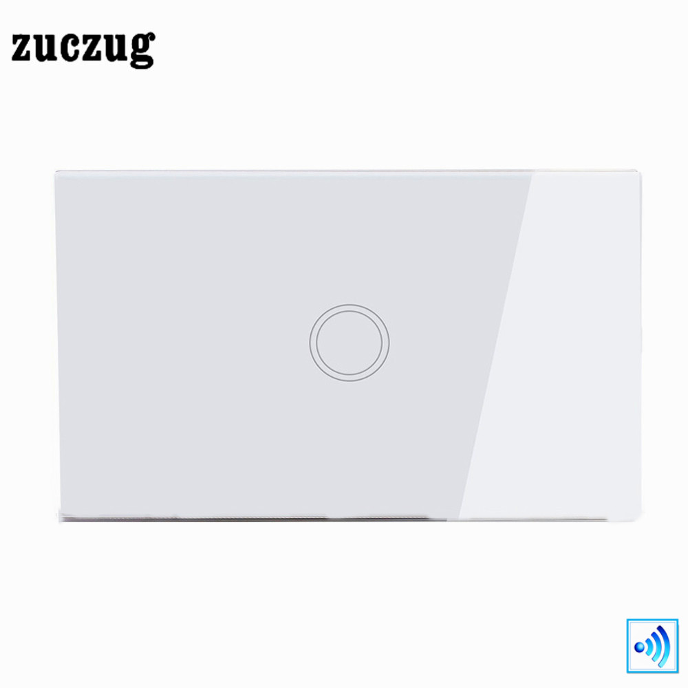 Zuczug US Standard Remote Control Switch, 1 Gang 1 Way Wireless Remote Home light Switch White Crystal Glass Wall Touch Switch 2017 smart home us standard wireless remote control 3 gang 1 way wall light touch switch white crystal glass panel ac 110v 240v