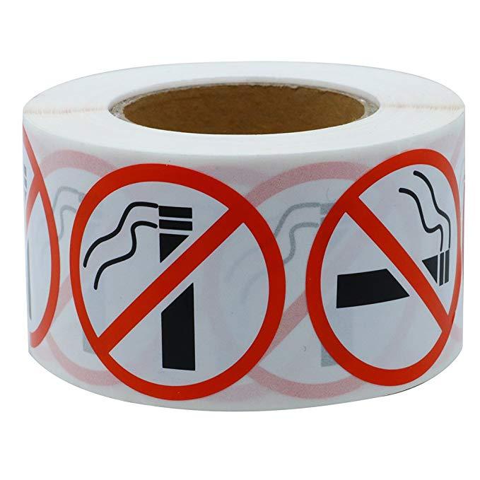 Купить с кэшбэком 500pcs/roll Round No Smoking Stickers 1 Inch for public area Self Adhesive Waterproof Warning Decal stationery stickers