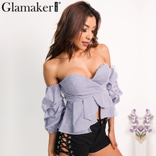 Glamaker Сексуальная с плеча рюшами блузка рубашка Фитнес элегантный спинки Блузы весна тонкий женские пляжные Топы