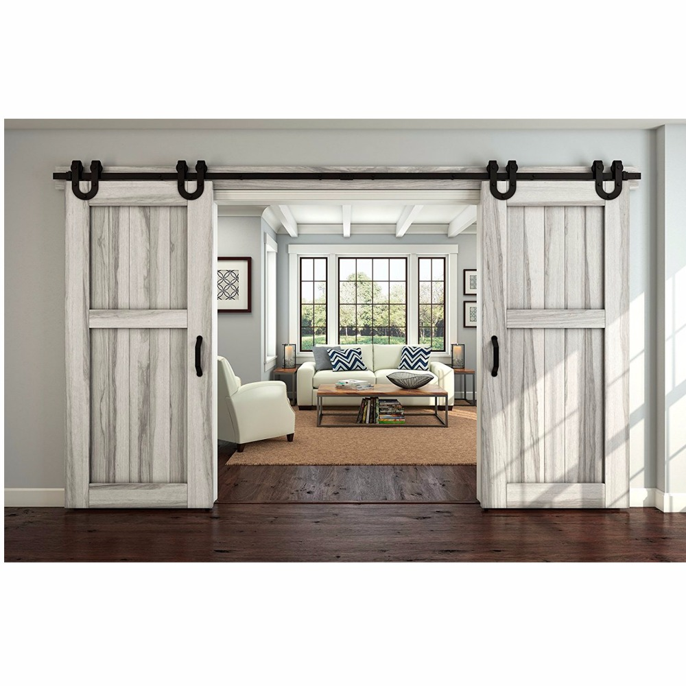 Solid double doors promotion shop for promotional solid double us free shipping 5ft 164ft black antique horseshoe solid steel sliding rolling barn door hardware kit for double wood doors eventelaan Images