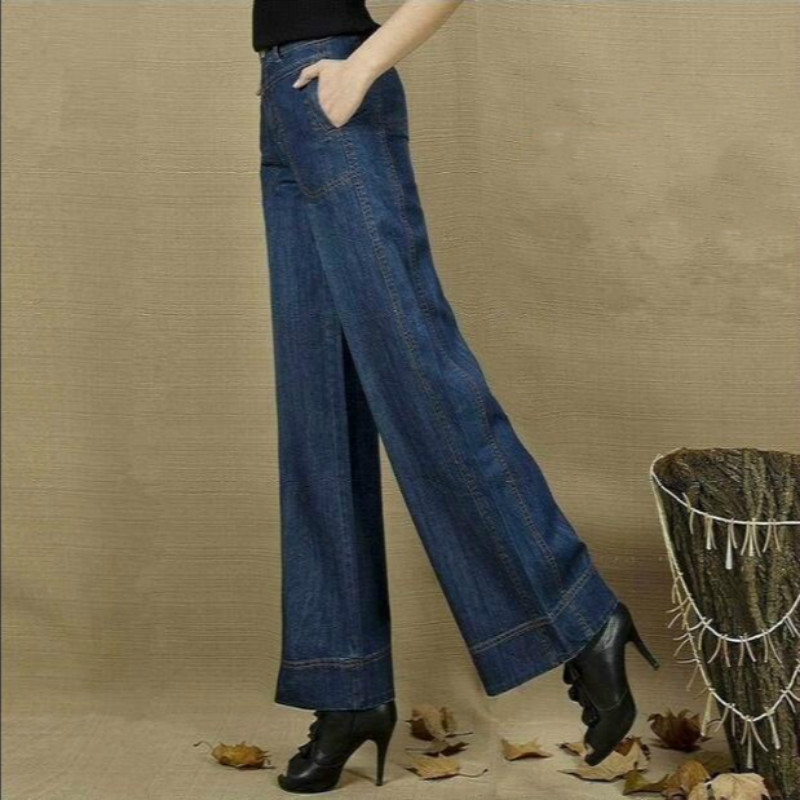 2017 new Autumn and winter Fashion casual loose cotton high waist female women girls blue wide leg pants jeans clothes autumn and winter boys pants 2015 new winter fashion star patch with good taste three oxford cashmere waist jeans code