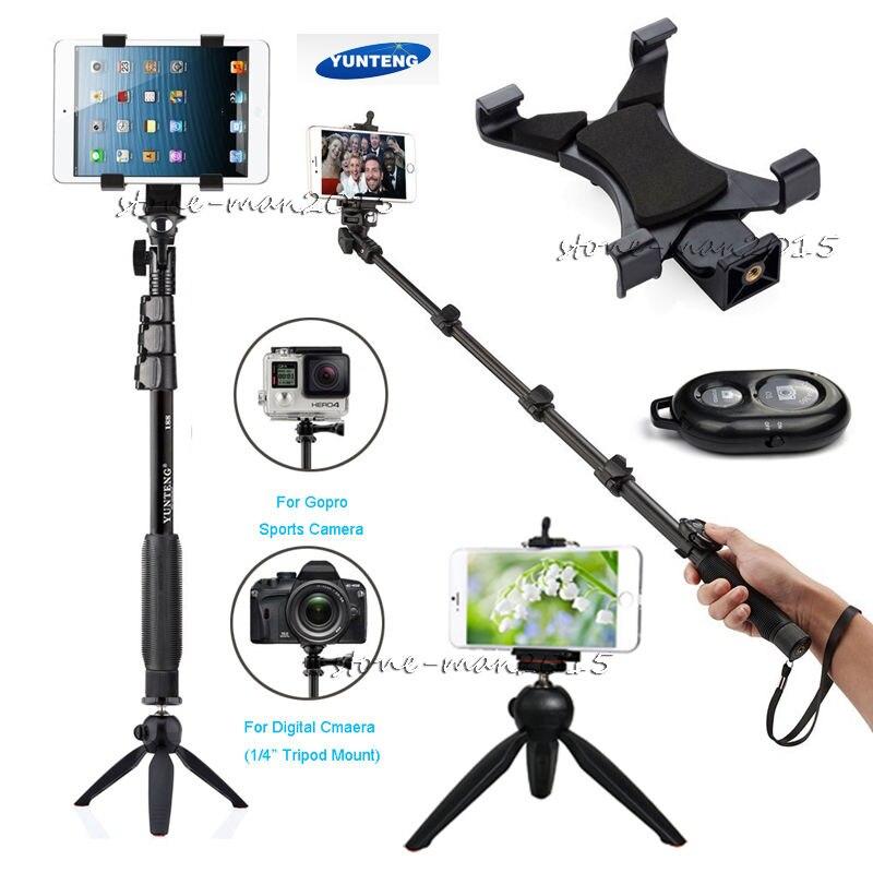 Pro iPhone X 6S 7 PLUS J5 J7 A5 Edge Note 8 7 Plus Z3 Gopro Camera Bluetooth Remote + Monopod Tablet Stick Holder + Selfie Tripod