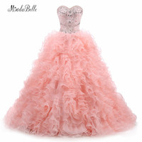 modabelle 2017 Quinceanera Dresses Pink Blush/Coral Vestido De Debutante Beaded Crystal Organza Party 15 Years Dress Ball Gown