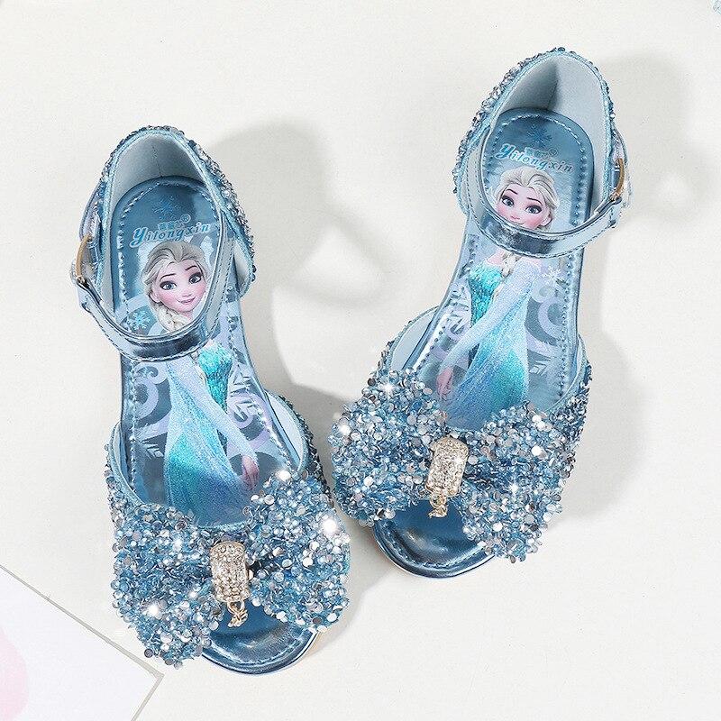 disney meninas sandalias 2019 nova moda verao criancas princesa sapatos bebe strass congelados elsa sandalias