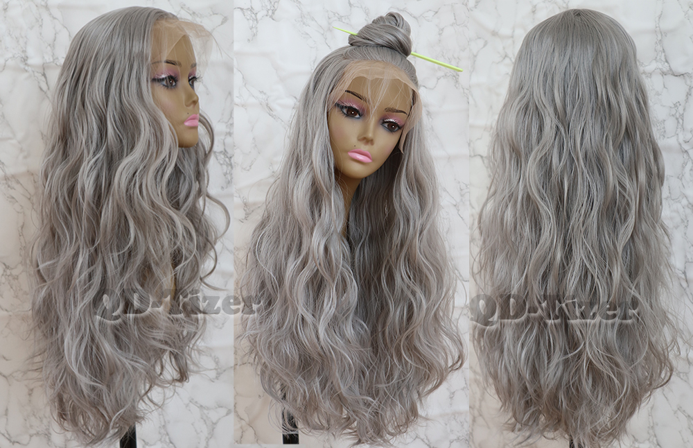 QD-Tizer Long Loose Wave Hair Grey Color Lace Wig with Baby Hair Glueless Synthetic Lace Front Wigs for Women3