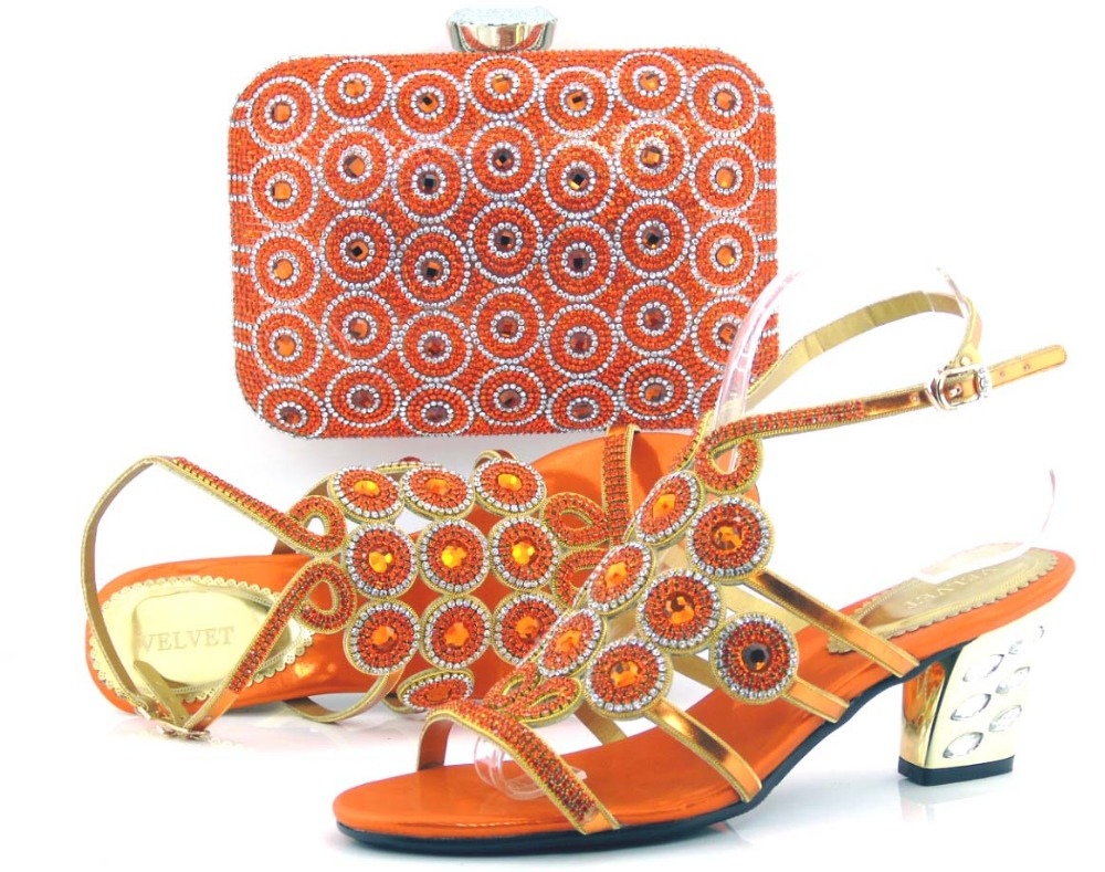 2016 Fashion orange high heel african shoe and bag to match for wedding dress free shipping