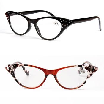 Modne okulary do czytania S5023 cateye kształt z akrylowe diamenty dekoracji hyperiopia modne okulary dla kobiet tanie i dobre opinie 4 5cm 5 5cm Kobiety Antyrefleksyjną Jasne Sheralor Poliwęglan Z tworzywa sztucznego Unisex reading longsighted people