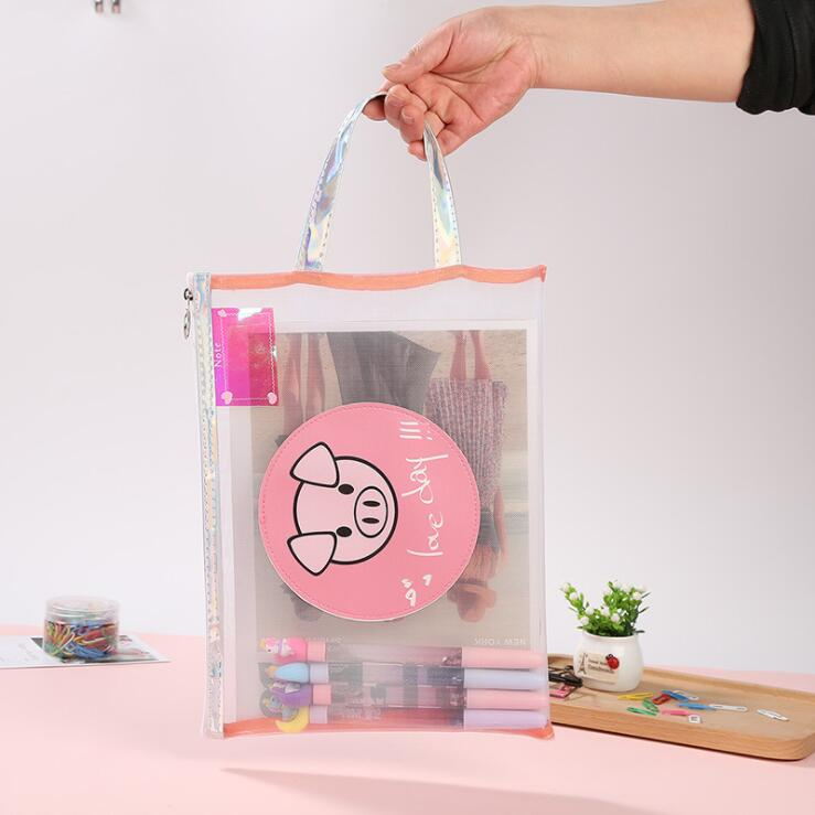1PC Kawaii Pig Zipper A4 File Folder Organizer Storage Bag Office School Pencil Pen Case Stationery Supplies