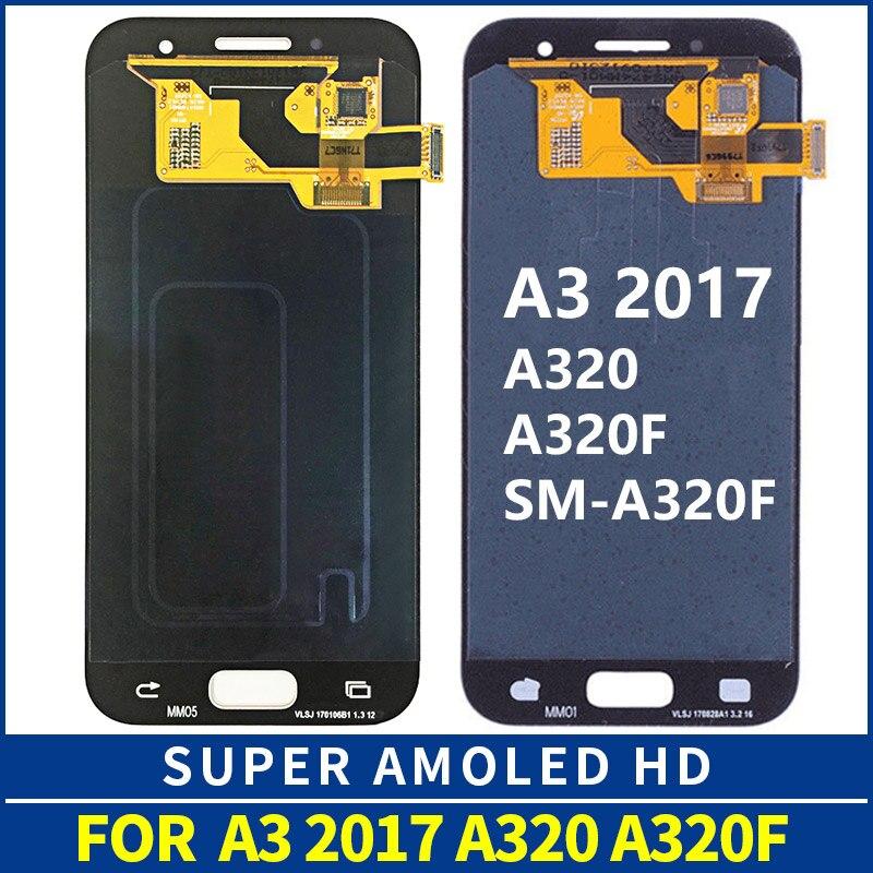 Original 4.5 ''OEM AMOLED pour Samsung Galaxy A3 2017 A320 A320M A320F LCD écran tactile numériseur assemblée remplacement