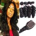 Brazilian Loose Wave With Closure 3 Bundles Brazillian Hair With Closure Unice Hair With Closure Ross Hair Brazilian Loose Wave