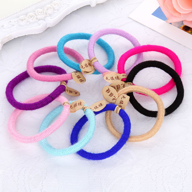 20pcs Mix Color Lot Women Elastic Hair Rope Seamless Thick Rubber Girls Hair Band Kids Safe Hair Ring Child HairWear Accessories