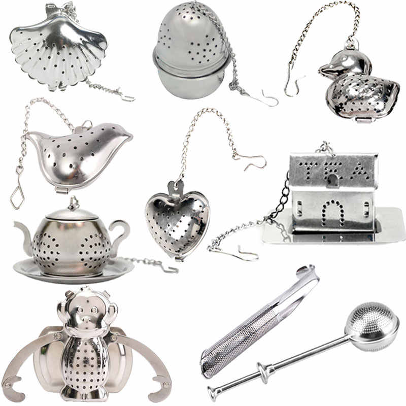 Heart/House/Duck/Monkey/Teapot/Ball/Bird/Shell Full Shape Stainless Steel Infuser Filter Strainer Tea Ball Spoon E2S