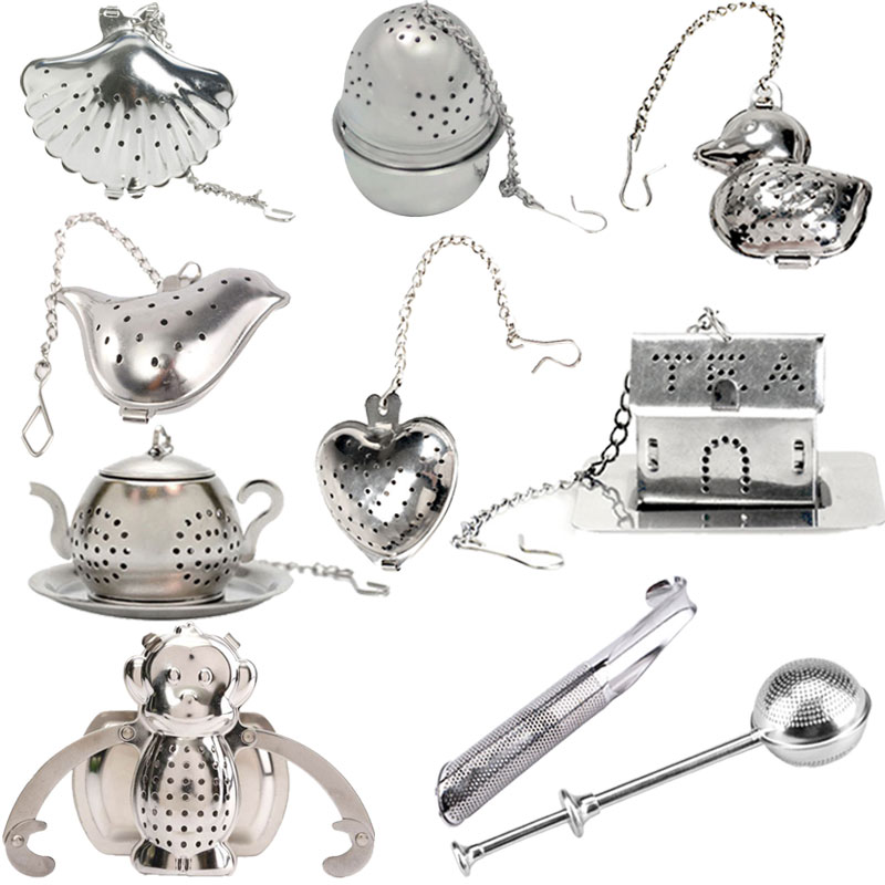 Купить со скидкой Heart/House/Duck/Monkey/Teapot/Ball/Bird/Shell Full Shape Stainless Steel Infuser Filter Strainer Te