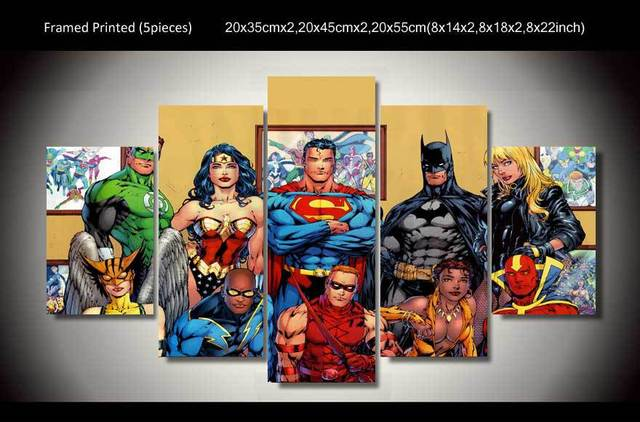 Framed Printed Cartoon dc comics superheroes painting wall art ...
