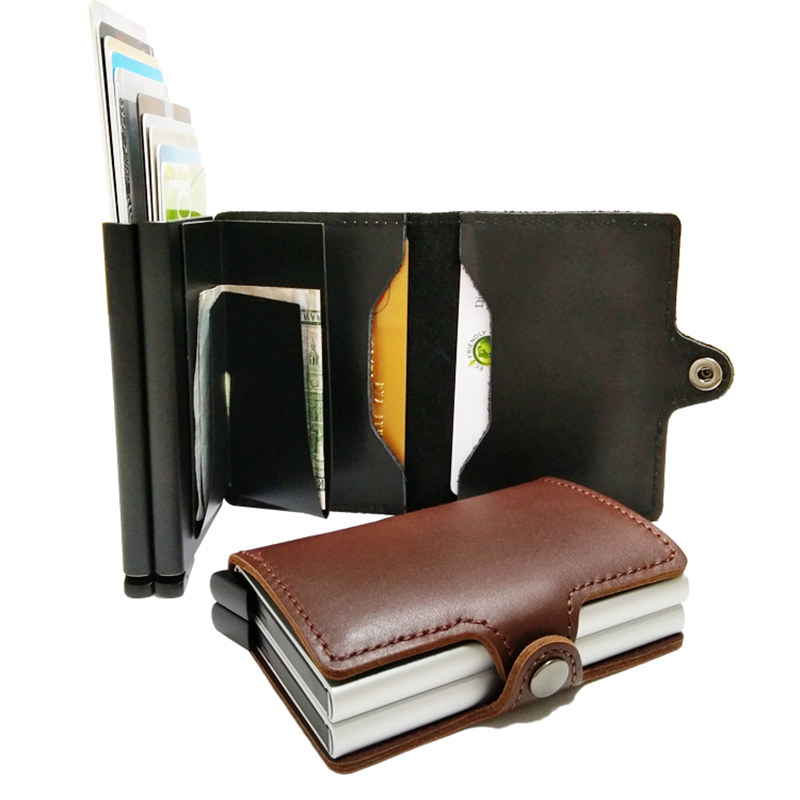 Automatic Pop Up Metal Men Genuine Leather Card Holder Aluminium Credit Card Holder With RFID Blocking