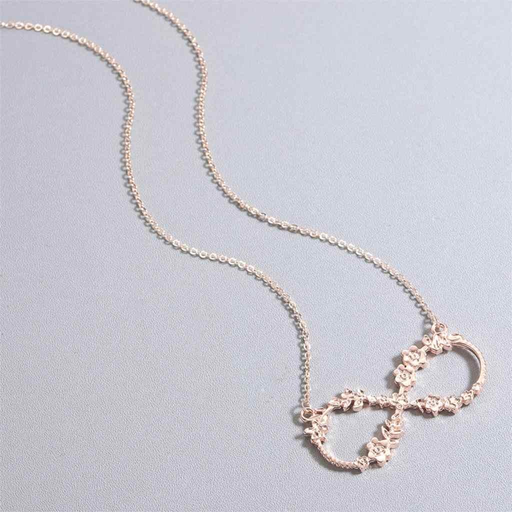 Qiming Rose Bunga Infinity Wanita Stainless Steel Perhiasan Pernikahan Chic Beruntung Nomor Delapan Pria Laporan Perhiasan Hadiah