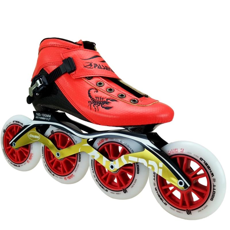 Prix pour En fiber de carbone de patinage de vitesse professionnel chaussures femmes/hommes inline patins de course chaussures enfant adulte de patinage chaussures de patins à roulettes bottes