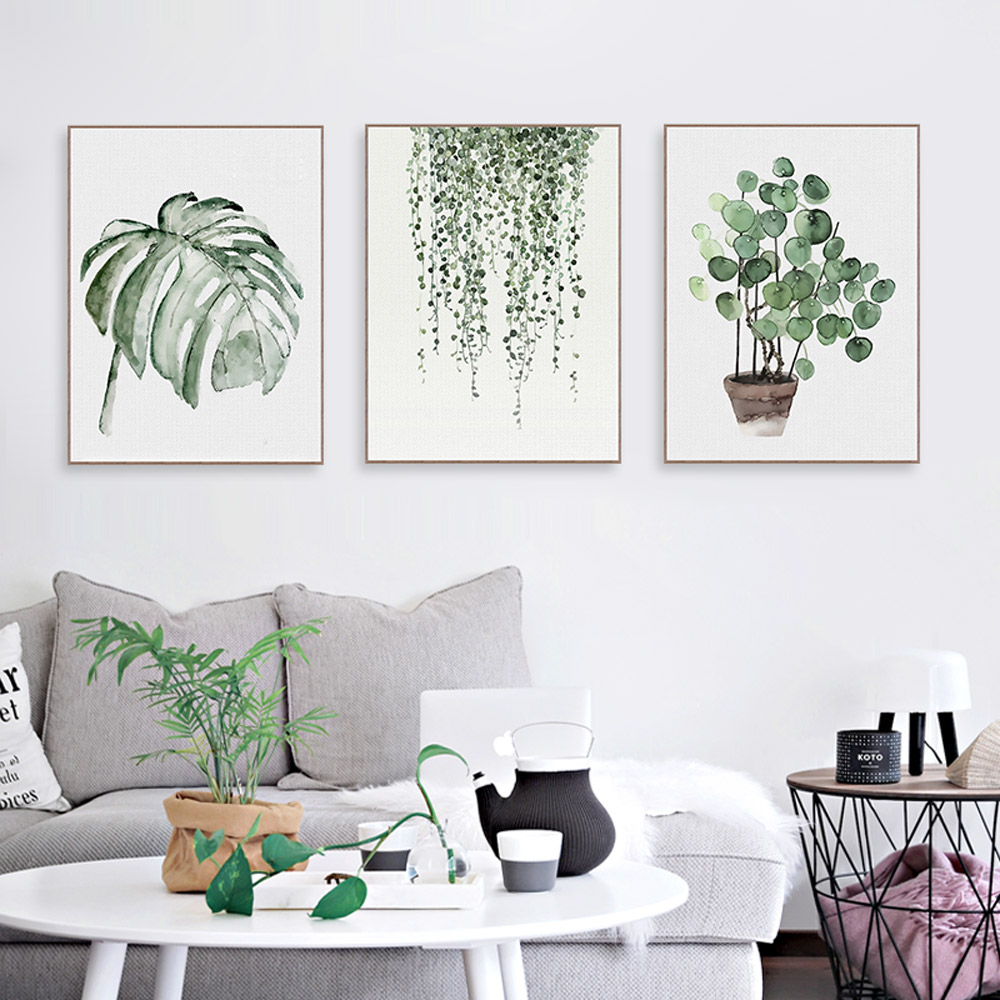 Watercolor green plants monstera nature posters and prints nordic style living room wall art - Wall paintings for living room ...