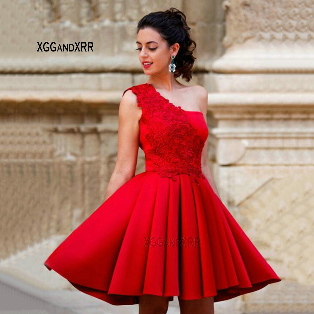 Sexy Red Mini One Shoulder Cocktail   Dresses   2019 Short Formal   Dress   Party Gowns Appliques   Prom     Dresses   Satin On Sale M1977