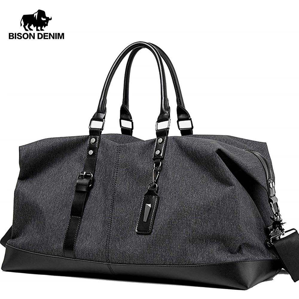 BISON DENIM Travel Bag Large Capacity Men Hand Luggage Travel Duffle Bags Nylon Weekend Bags Multifunctional