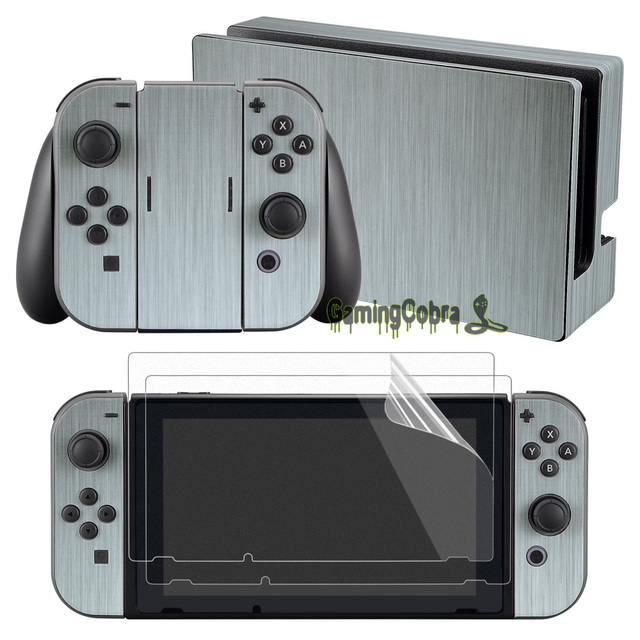 eXtremeRate Silver Skin Sticker Covers 2 Pcs Screen Protectors for Nintendo Switch