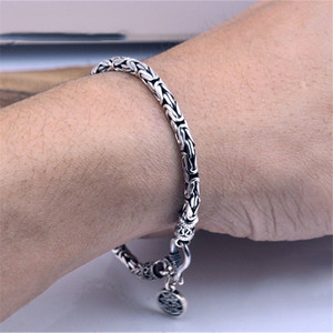 Image 2 - GAGAFEEL Genuine 100% Real Pure 925 Sterling Silver Men bracelets Dragon Head Vintage Thai Silver Men jewelry Fine jewelries
