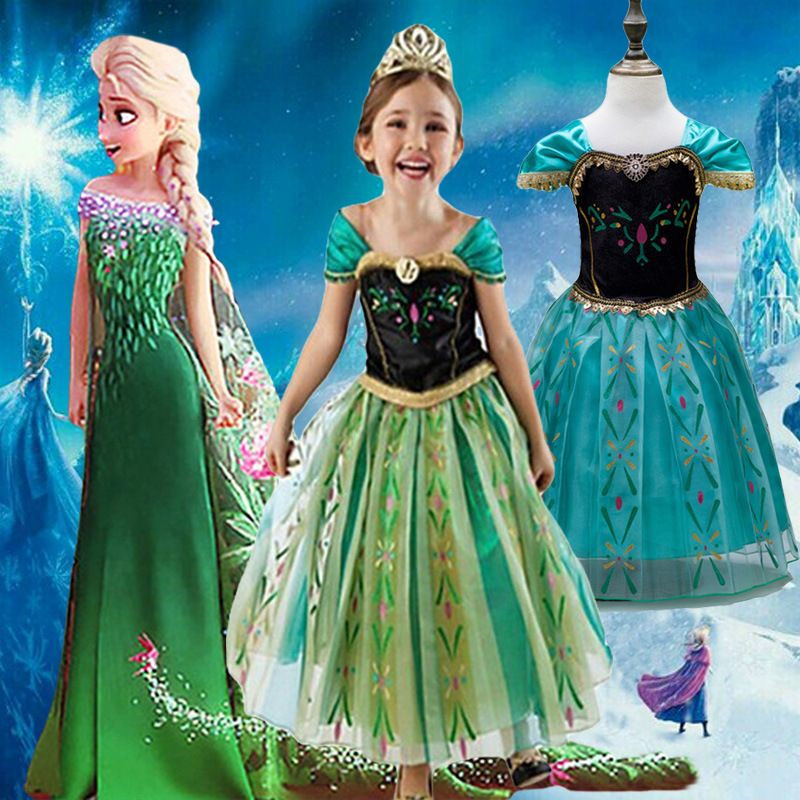 Girls Fever Anna Elsa Dress Popluar White Snow Of Queen Ice