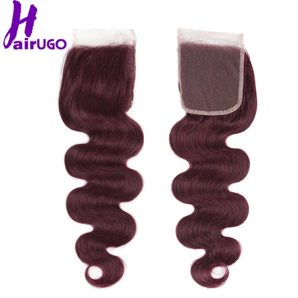 HairUGo малазийские пучки волнистых волос с закрытием 99J бордовые Омбре человеческие волосы пучки с закрытием не Реми волосы переплетения