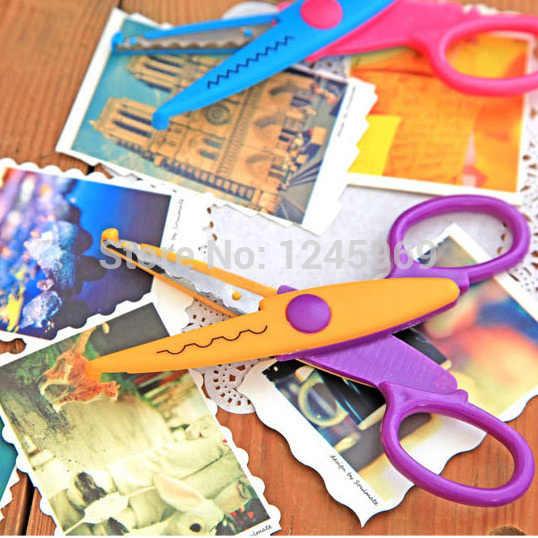 1 juego/6 piezas Diy zigzag tijeras de coser Mini tijeras rizadas borde creativo ola flor Tesoura para artesanías diseño de tela color aleatorio