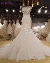 Fmogl Glamorous Appliques Cap Sleeve Mermaid Wedding Dress 2019 Vintage Scoop Neck Trumpet Bride Gown Robe De Mariage Plus Size