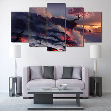 2019 Hot Magic Cherry Tree In Lava Volcanoes Landscape Canvas Wall Art Poster Living Room Picture 5 Pieces Painting Home Decor(China)