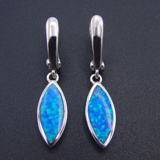 New Style 100% 925 Sterling Silver Fine Blue Opal Earrings Drop Earring Jewelry for Party Women