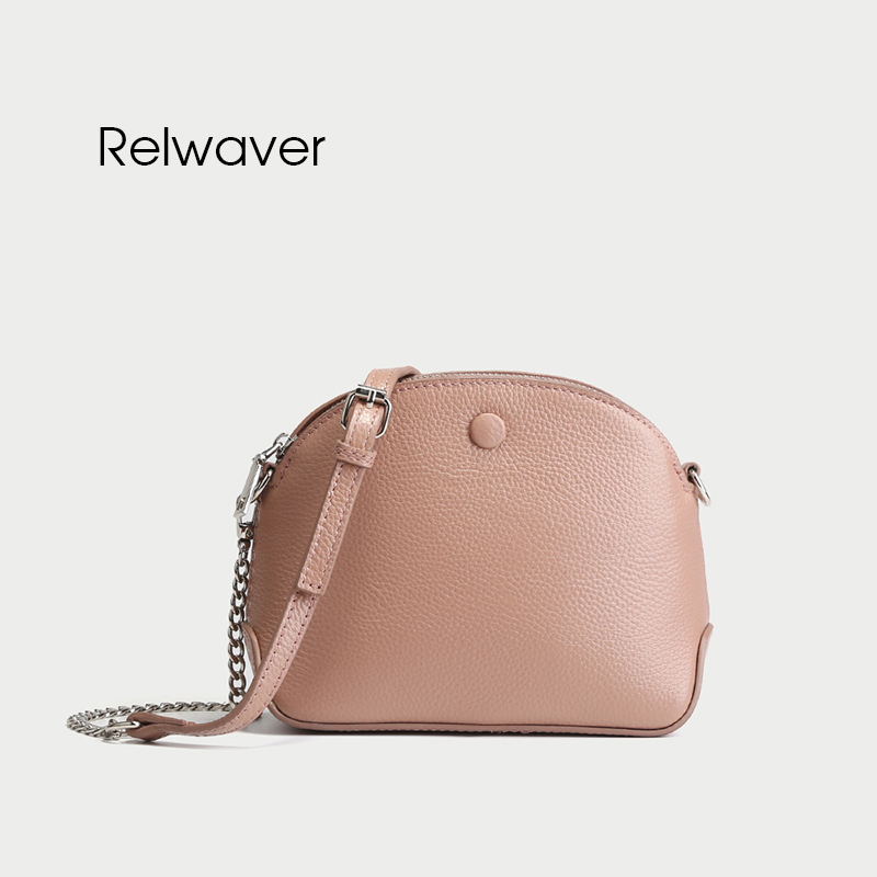 Relwaver genuine leather women messenger bags shoulder bags small real leather fashion stylish chain bag crossbody women bag цена