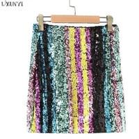 LXUNYI Europe And America Style Geometric Sequin Skirt 2018 Spring Fashion Streetwear Women Short Skirts Slim