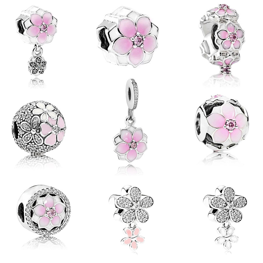 Beads Beads & Jewelry Making Spinner Magnolia Bloom Dangling Charm Beads Fit Pandora Charm Bracelets&bangles For Women Jewelry Diy Wholesale