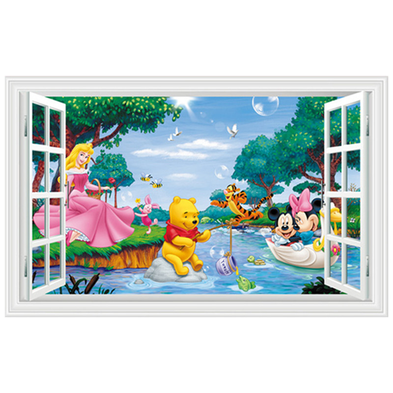 kids room decoration 3d fake window stickers princess mickey minnie