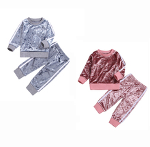 Baby clothes set 2Pcs children baby boy girl 2019 fashion sports and leisure velvet autumn winter long sleeve suit
