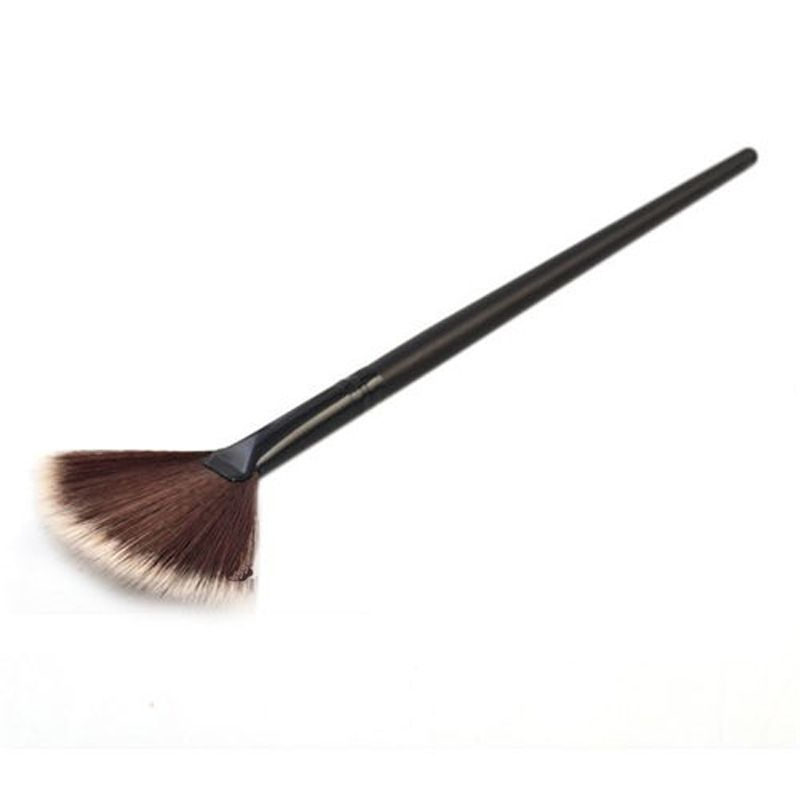 1pc Slim Fan Shape Brush Blush Plastic Handle Synthetic Fiber Face Powder Foundation Makup Cosmetic Tool