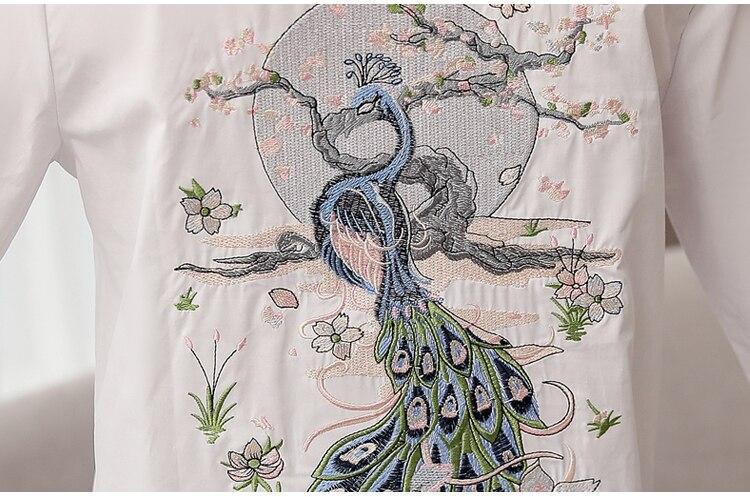 Nova chegada feminina pavão pêssego flor bordado
