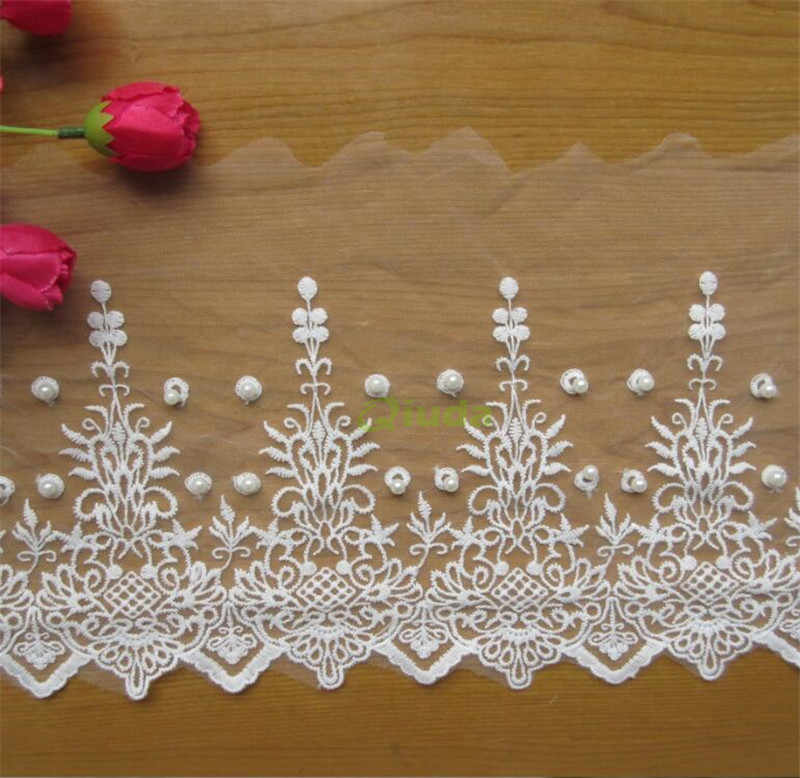 2 Yards Embroidered Flower Mesh Net Lace Edge Trim Wedding Bridal Ribbon Crafts