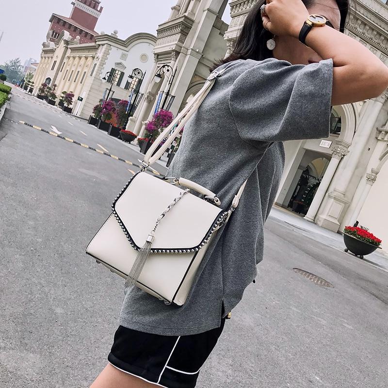 Fashion Leather Backpacks for Teenage Girls Bolsa Feminina Mochila Small Ear Women Backpack Tassel Shoulder Bags School Backpack