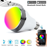 Smart Bulb Switch E27 LED RGB Bulb Colorful Lamp Music Audio Bluetooth Speaker Wifi APP Remote