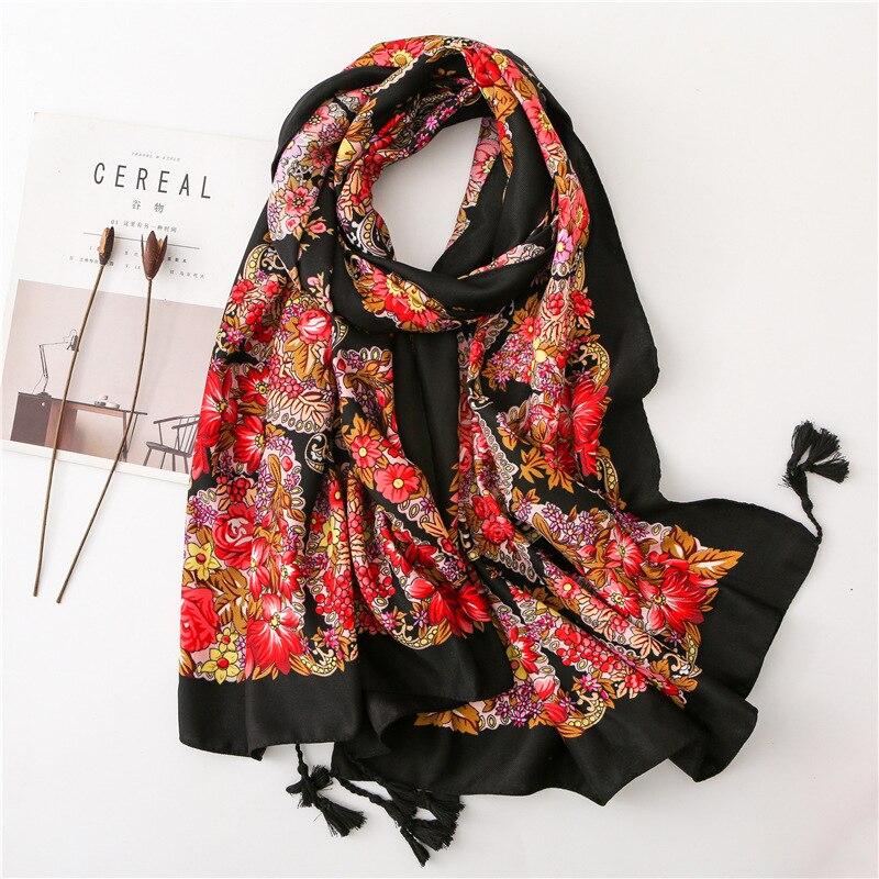 design innovativo dfa6d 2fb81 US $7.79 35% di SCONTO|KYQIAO 2019 Etnico sciarpa per le donne di autunno  della molla originale di disegno sciarpa lunga della stampa Pashmina Sjaal  ...