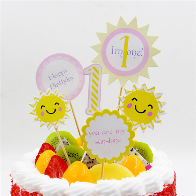 6PCS Birthday Cake Toppers Baby 1 Year Old You Are My Sunshine Party Shower